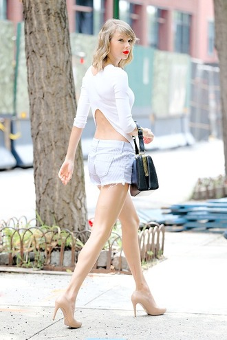 top white shorts taylor swift open back