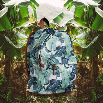 bag backpack print printed backpack printed bag floral bag floral backpack floral flowers green backpack green fusion tropical