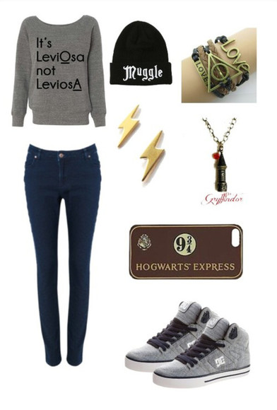 sweater harry potter magic grey jeans jewels quote on it