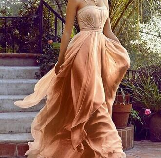 dress clothes nude flowy silk