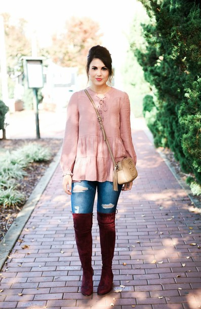 life & messy hair blogger top jeans shoes jewels bag sunglasses pink blouse crossbody bag gucci bag thigh high boots