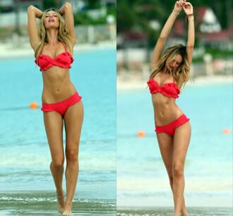 swimwear red women sexy blonde hair beach bikini victoria's secret