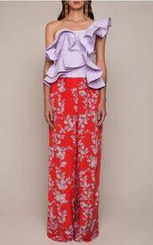 top,ruffled top,lilac top,one shoulder,pants,wide-leg pants,red pants,floral pants