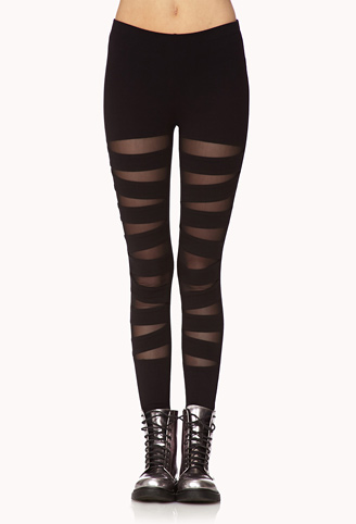 Mesh Cutout Leggings | FOREVER 21 - 2000110106