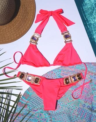 swimwear beach bunny swimwear crystal coral bikini bikini bottoms glamour pink
