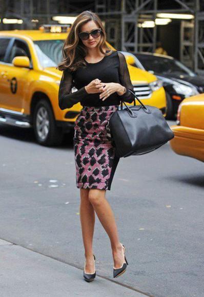 shirt givenchy bag black shoes skirt stilettos leather sunglasses miranda kerr