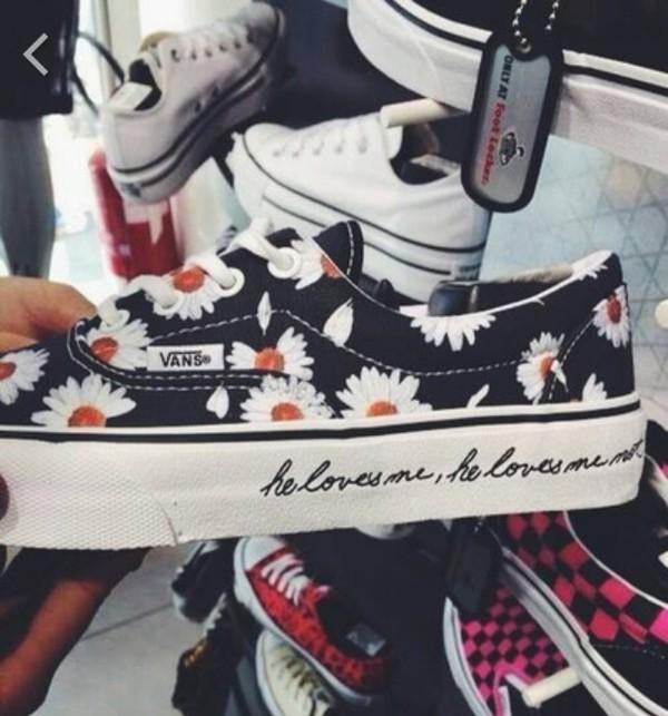 shoes vans flowers daisy