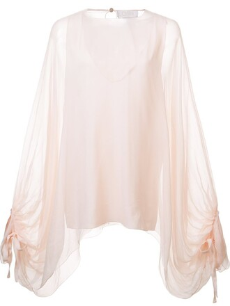 blouse sheer blouse oversized sheer purple pink top