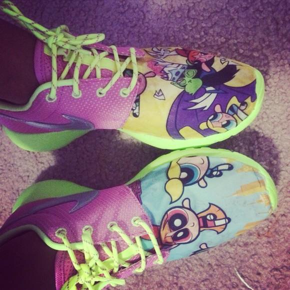 shoes sneakers style fashion roshe runs, nikes, neon, floral powerpuff girls cartoon