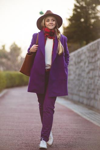 my blonde gal blogger hat purple tartan scarf pants