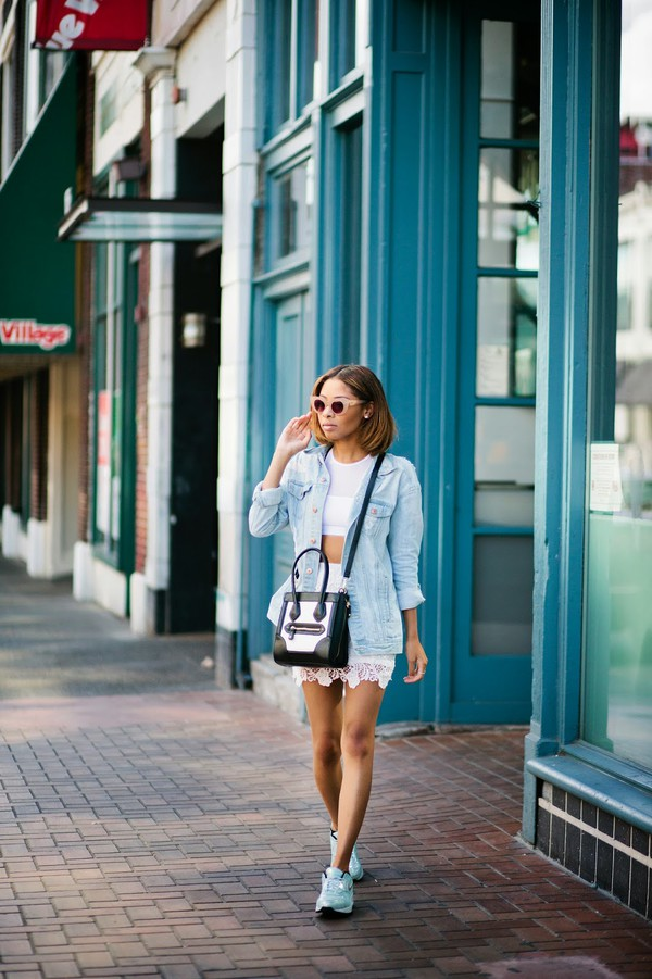 seattle fashion blogger top skirt jacket bag sunglasses