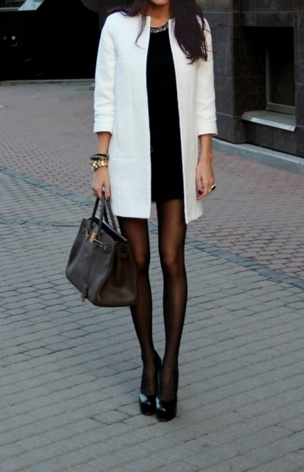 coat white white coat trench coat classy dress black and white little black dress