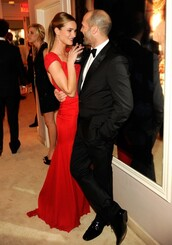 dress,red,rosie huntington-whiteley,couple,red carpet dress,red long dress,mens suit,evening dress