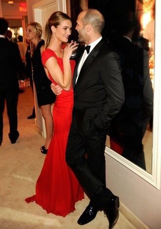 dress red rosie huntington-whiteley couple red carpet dress red long dress mens suit evening dress