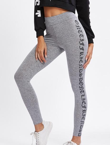 leggings girly grey print