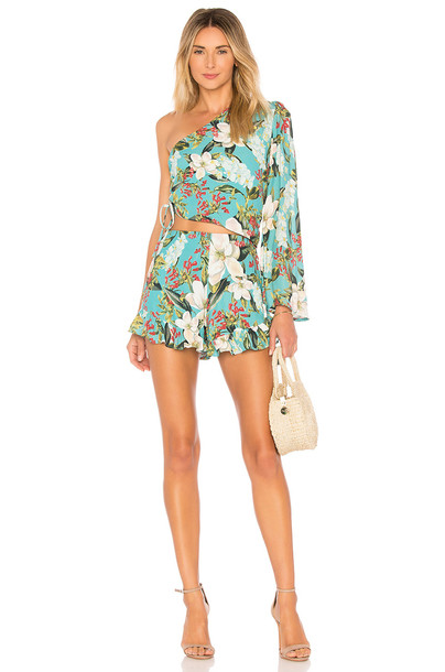 Lovers + Friends Mayer Romper in blue
