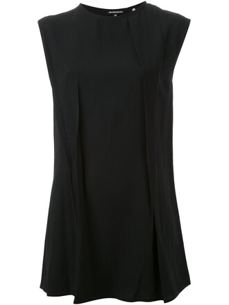 top pleated sleeveless black