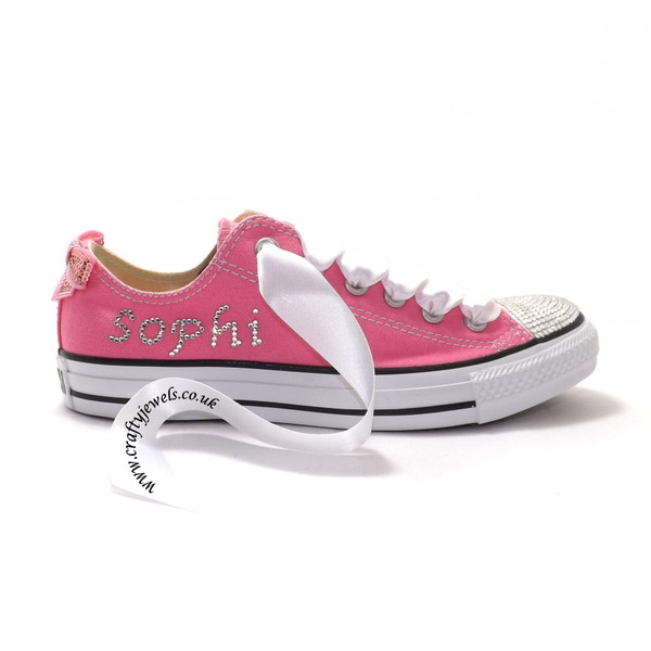 shoes converse Crystal Converse pink crystal swarovski fashion style pumps custom custom shoes bling
