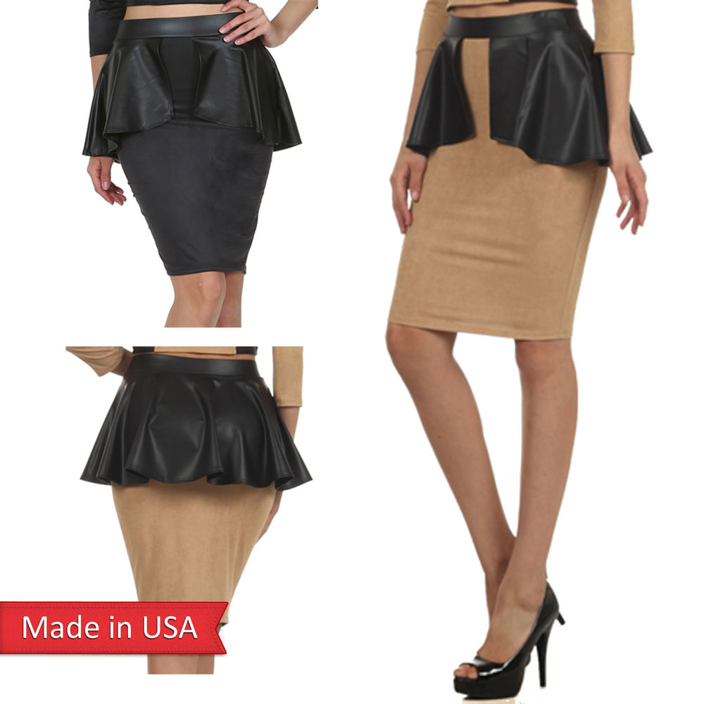 Women Faux Suede Leather Peplum Detail High Waist Fitted Pencil ...