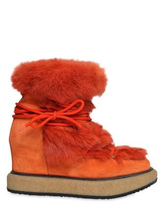 fur boots lace suede orange shoes