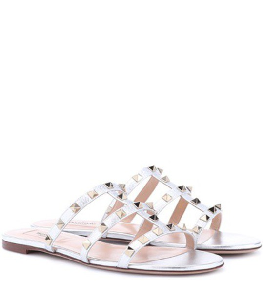 Valentino sandals leather sandals leather silver shoes