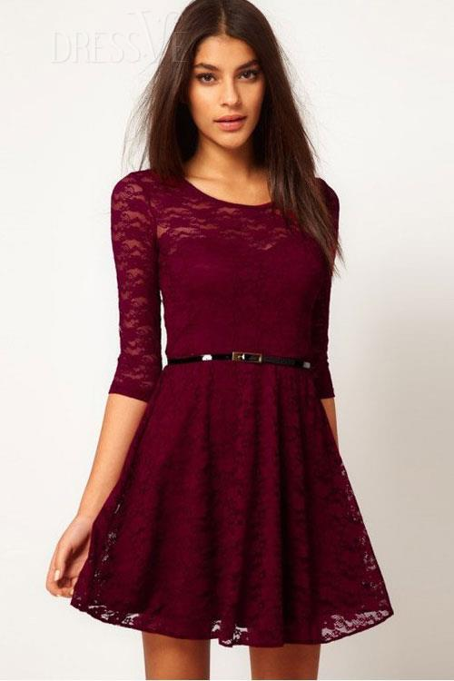 Fashion fabulous red lace ballet dress with belt