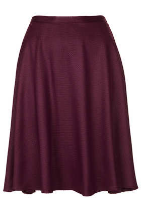 Textured Full Calf Skater Skirt - Skirts  - Clothing  - Topshop