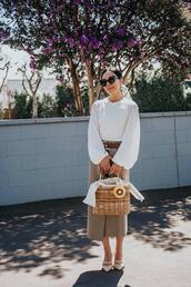 hallie daily,blogger,bag,top,belt,scarf,skirt,shoes,sunglasses