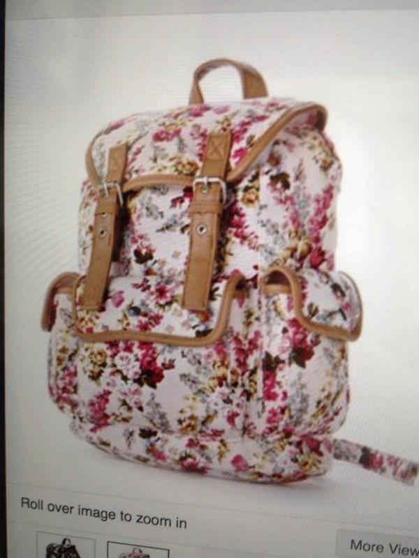 bag ryggsäck backpack floral fashion lovley white black