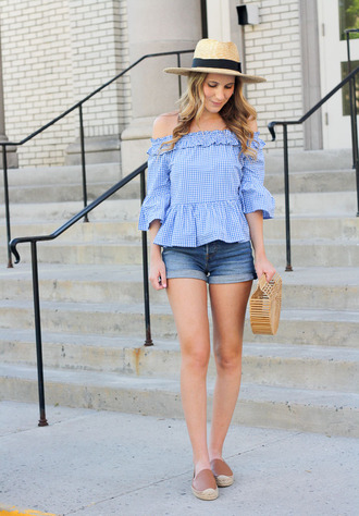 twenties girl style blogger top shorts shoes bag hat gingham off the shoulder top cult gaia bag espadrilles denim shorts summer outfits