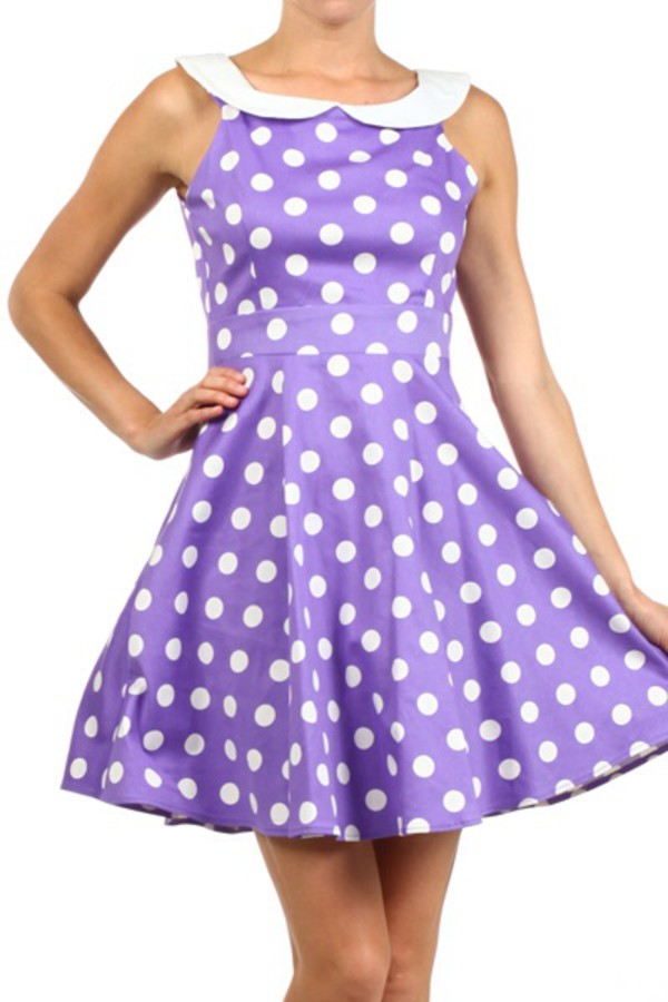 polka dots fashion dress purple dress