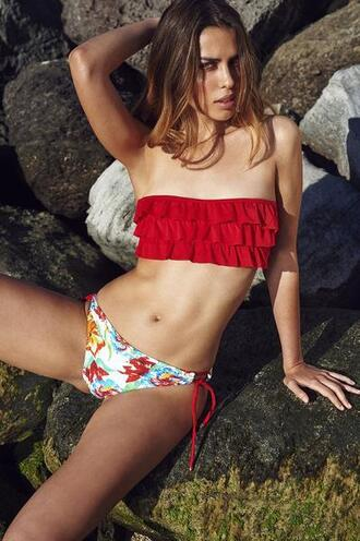 swimwear tie sides cheeky floral purple red ruffle bikini set white bikiniluxe