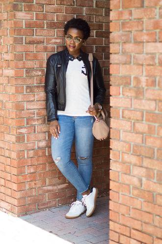 pinksole blogger sunglasses jewels t-shirt jacket jeans shoes bag