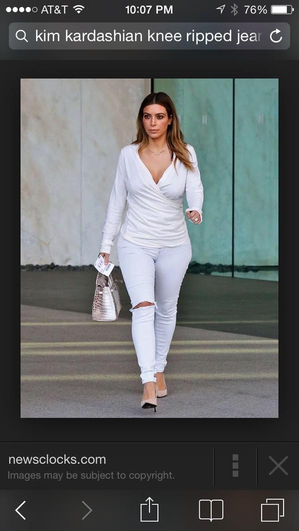 jeans kim kardashian ripped jeans ripped skinny jeans blouse