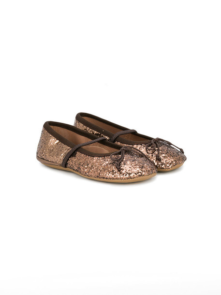 glitter leather brown shoes
