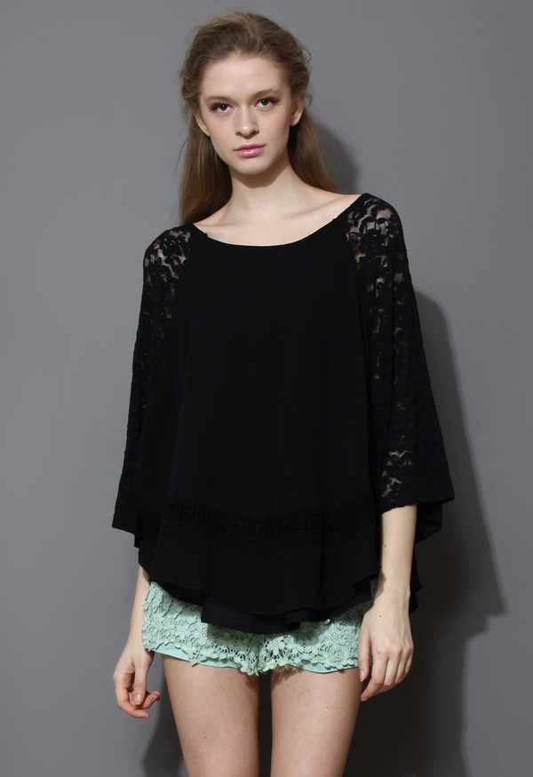 blouse lace chiffon cape top black