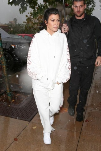 sweater hoodie sweatshirt sweatpants white sneakers kourtney kardashian all white everything kardashians pants