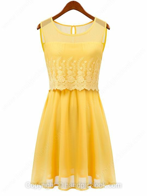 Yellow Round Neck Sleeveless Embroidery Chiffon Dress - HandpickLook.com