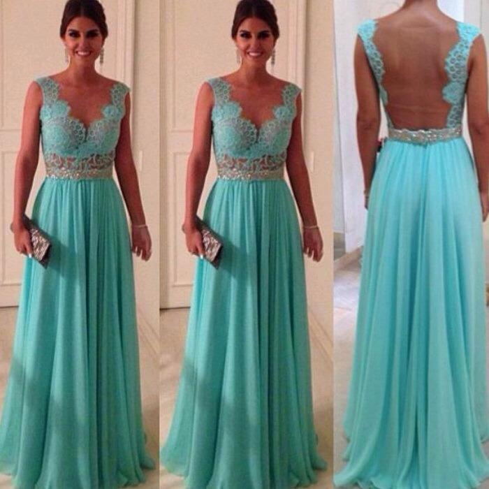 Discount Ready to Ship 2014 Prom Dresses with V Neckline A Line Hunter Chiffon Beaded Lace Appliques Backless Party Dress Prom Evening Gown In Stock Online with $53.75/Piece | DHgate