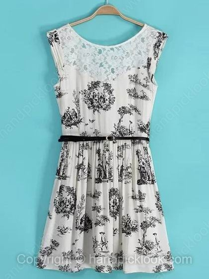White Round Neck Sleeveless Tree & People Print Lace Dress - HandpickLook.com