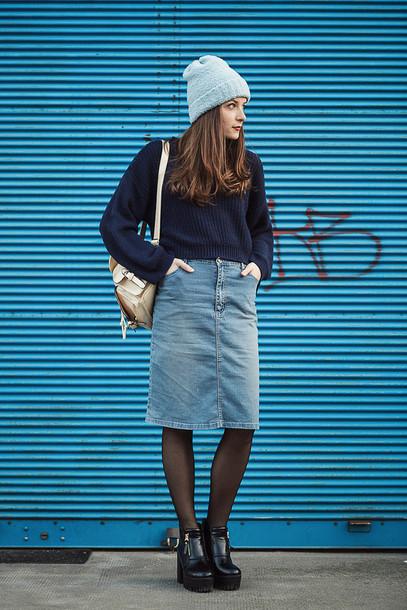 iemmafashion blogger denim skirt platform shoes knitted sweater backpack sweater shirt skirt shoes hat jewels