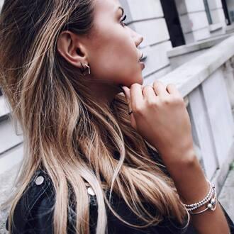 jacket black jacket bracelets jewels