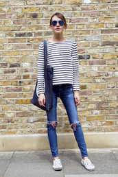 la petite anglaise,blogger,denim,tote bag,striped top,ripped jeans,slip on shoes,vans,printed slippers,stripes,long sleeves,sunglasses,blue sunglasses,fall outfits,blue jeans