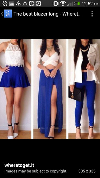 blue pants jacket white blazer