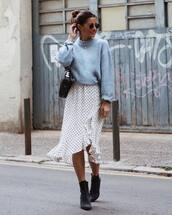 sweater,skirt,tumblr,blue sweater,knit,knitwear,knitted sweater,baby blue,midi skirt,asymmetrical,asymmetrical skirt,white skirt,boots,ankle boots
