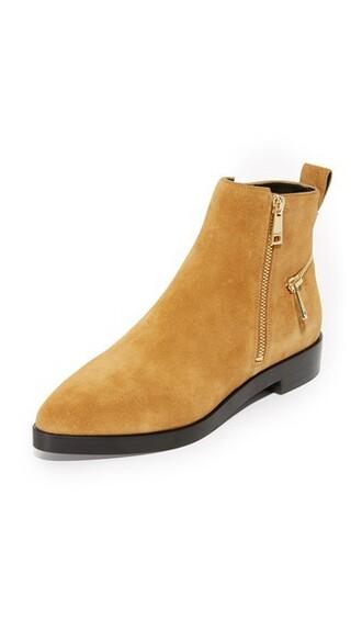 suede booties zip booties suede mustard shoes