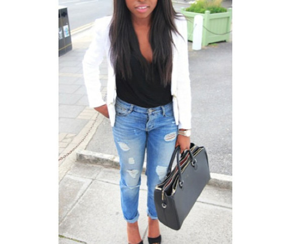bag torn jeans black shirt black bag trendy ootd white blazer blazer