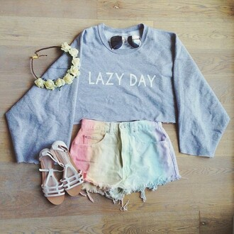 shorts sweater flower crown mini shorts white sandals oversized sweater outfit rainbow denim shorts shoes hat t-shirt summer tie dye lazy day cool goth pants fancy pants tank top shirt sweatshirt grey cropped sweater high waisted shorts blouse hair accessory