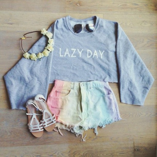 shorts sweater flower crown mini shorts white sandals oversized sweater outfit rainbow denim shorts shoes hat t-shirt summer tie dye lazy day cool goth pants fancy pants tie dye tank top shirt sweatshirt grey cropped sweater High waisted shorts blouse hair accessory