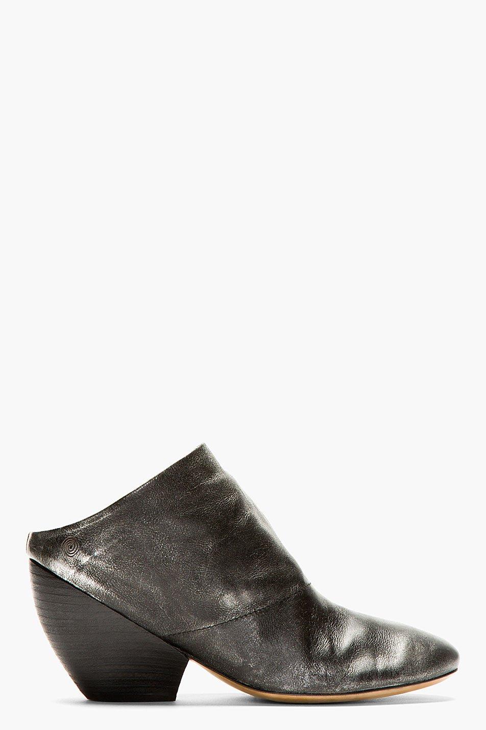 Marsll black metallic leather slouchy clogs